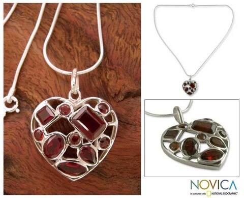 Handmade Sterling Silver 'My Love' Garnet Necklace (India)