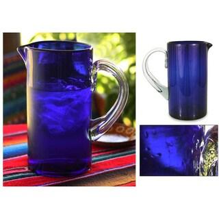 Handmade Blown Glass 'Deep Blue' Pitcher (Mexico)