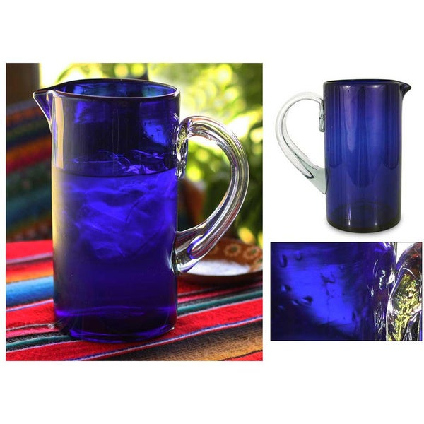 Handcrafted Blown Glass 'Deep Blue' Pitcher (Mexico)