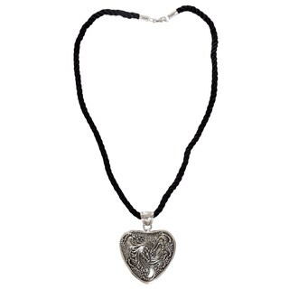Handmade Sterling Silver 'Flowery Heart' Necklace (Indonesia)