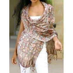 Handmade Silk 'Euphoria' Batik Shawl (Indonesia)