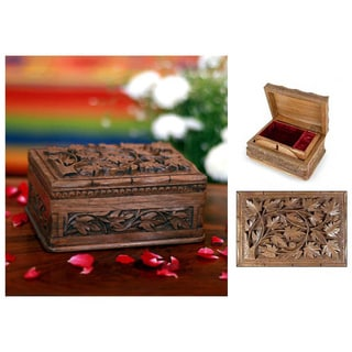 Walnut Wood 'Forever' Jewelry Box (India)
