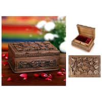 Handmade Walnut Wood 'Forever' Jewelry Box (India)