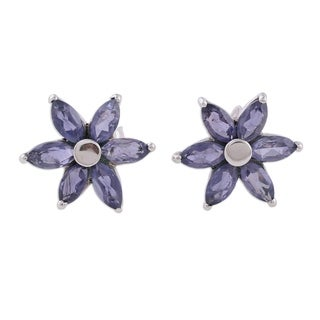 Handmade Sterling Silver 'Ocean Daisy' Iolite Earrings (India)