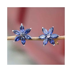 Sterling Silver 'Ocean Daisy' Iolite Earrings (India)