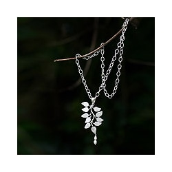Handmade Silver 'White Forest' Pearl Pendant Necklace (4.5 mm) (Indonesia)