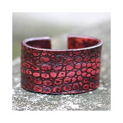 Handmade Leather 'Red Lizard' Bracelet (Indonesia)