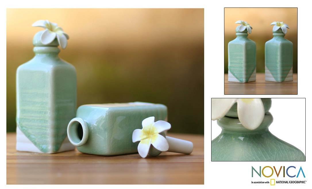 Handmade Set of 2 Ceramic 'Frangipani' Oil Bottles (Indonesia)