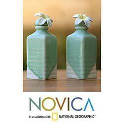 Handmade Set of 2 Ceramic 'Frangipani' Oil Bottles (Indonesia) - Thumbnail 1