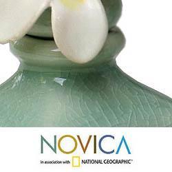 Handmade Set of 2 Ceramic 'Frangipani' Oil Bottles (Indonesia) - Thumbnail 2