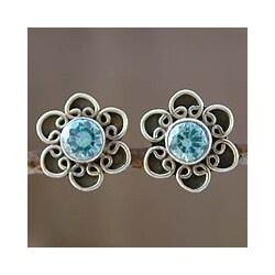Handmade Sterling Silver 'Blue Blossom' Topaz Earrings (India)
