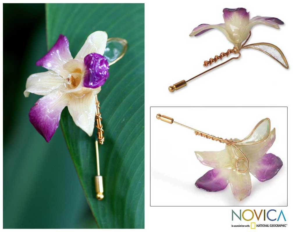 Handmade Goldplated 'Orchid Fantasy' Natural Orchid Stickpin (Thailand)