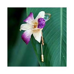 Goldplated 'Orchid Fantasy' Natural Orchid Stickpin (Thailand)