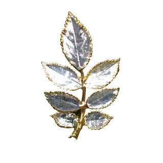 Handmade Silverplated 'Silver Leaf' Natural Rose Leaves Brooch (Thailand)