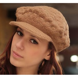 Alpaca Wool 'Tan Newsboy Cap' Hat (Peru)