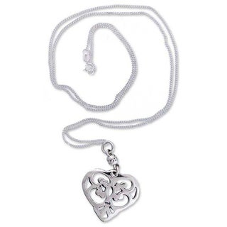 Handmade Sterling Silver 'Angel Heart' Long Necklace (Mexico)
