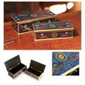 Set of 2 Wood 'Midnight Marvel' Painted Glass Jewelry Boxes (Peru)
