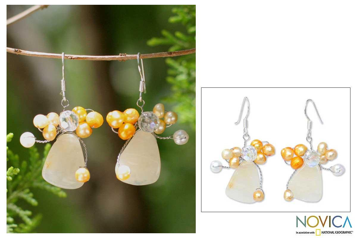 Sterling Silver 'Golden Gardenia' Pearl Earrings (3-5 mm) (Thailand) - Thumbnail 0