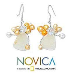 Sterling Silver 'Golden Gardenia' Pearl Earrings (3-5 mm) (Thailand)