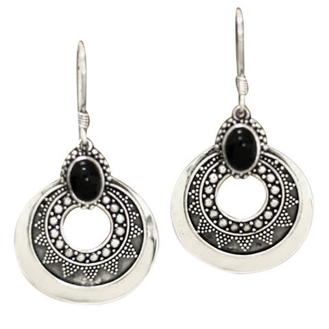 576796729 Royal Medallion Unique Balinese Artisan Design Black Cabochon Onyx 925  Sterling Silver Womens Dangle Earrings (