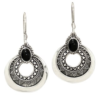 Royal Medallion Unique Balinese Artisan Design Black Cabochon Onyx 925 Sterling Silver Womens Dangle Earrings (Indonesia)