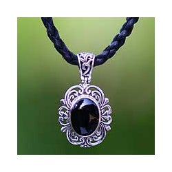 Sterling Silver 'Midnight Sky' Onyx and Leather Necklace (Indonesia)