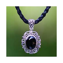 Handmade Sterling Silver 'Midnight Sky' Onyx and Leather Necklace (Indonesia)