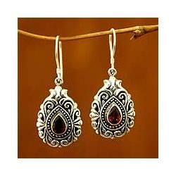Handmade Sterling Silver 'Crimson Tear' Garnet Dangle Earrings (Indonesia)