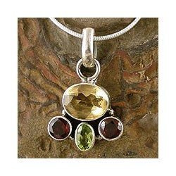 Handmade Sterling Silver 'Harmony' Garnet Citrine Necklace (India)