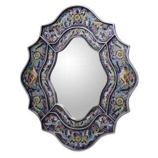 Spring Violets Lend a Note of Purple to the Multicolor Reverse Painted Glass Elegant Silver Gilt Decor Accent Wall Mirror (Peru)
