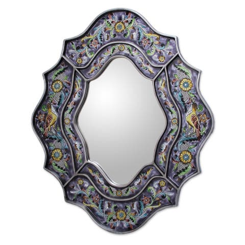 Handmade Reverse Painted Glass Spring Violets Wall Mirror (Peru) - Purple