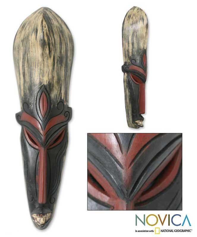 Handcarved Wood 'Festival In Kumasi' Ashanti  Mask (Ghana) - Thumbnail 0