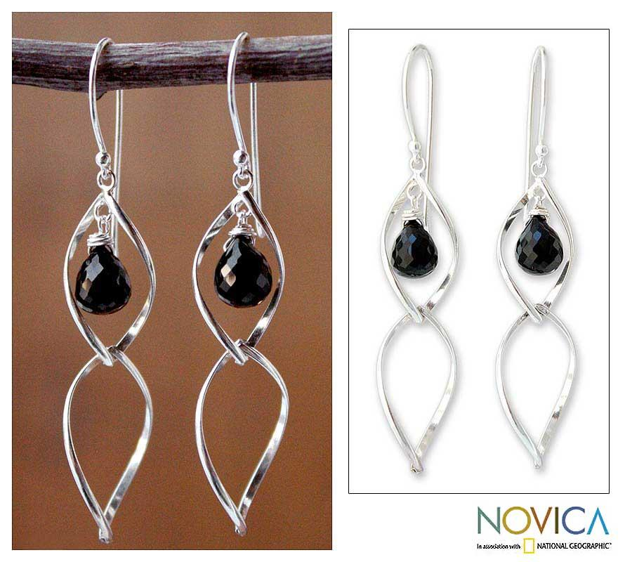 Sterling Silver 'Dancer' Onyx Dangle Earrings (Thailand)