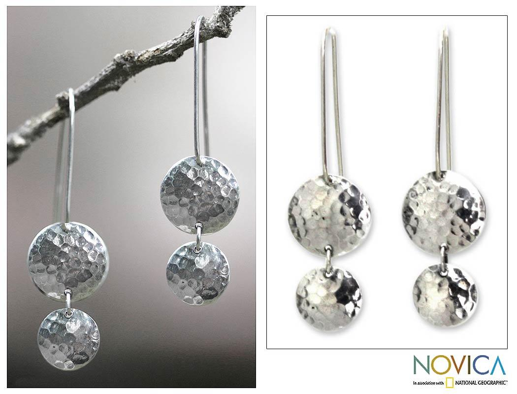 Handmade Sterling Silver 'Magical Shields' Drop Earrings (Indonesia)