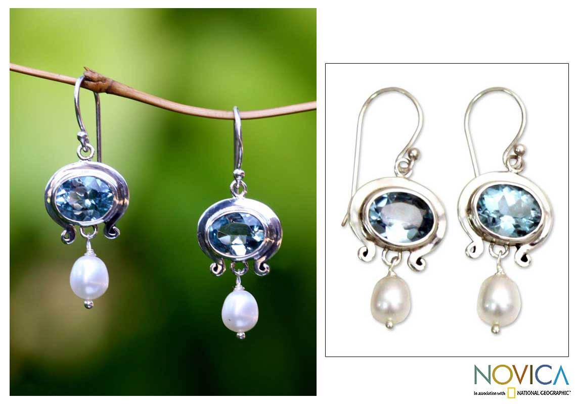 Handmade Sterling Silver 'Sky Fantasy' Pearl Dangle Earrings (4mm) (Indonesia)