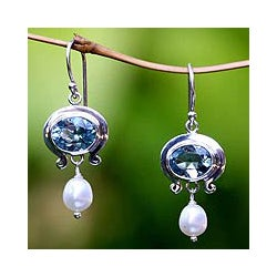 Sterling Silver 'Sky Fantasy' Pearl Dangle Earrings (4mm) (Indonesia)