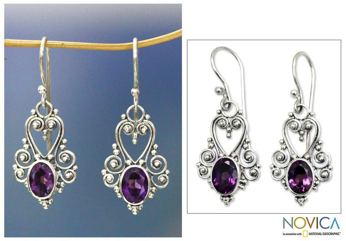 Sterling Silver 'Queen of Hearts' Amethyst Dangle Earrings (Indonesia)