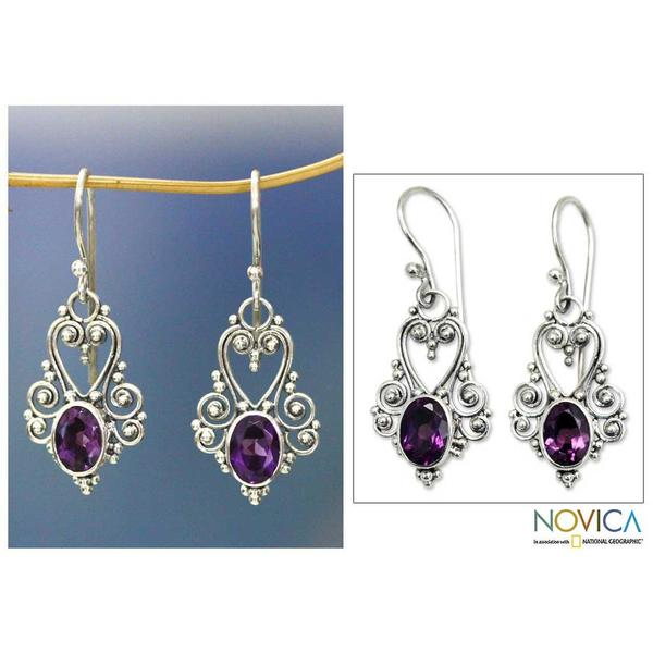 Handmade Sterling Silver 'Queen of Hearts' Amethyst Dangle Earrings (Indonesia)