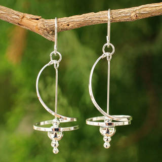 Handmade Sterling Silver Pirouette Drop Swirl/Stately Earrings (Thailand)