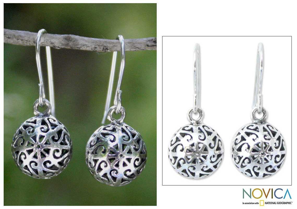 Sterling Silver 'Disco Dancer' Dangle Earrings (Thailand)