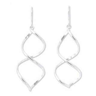 Handmade Sterling Silver 'Helix' Dangle Earrings (Thailand)
