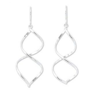 Handmade Sterling Silver 'Helix' Dangle Earrings (Thailand)