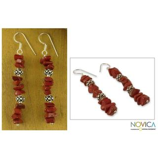 Handmade Sterling Silver 'Fire Magic' Jasper Drop Earrings (India)