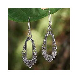 Good Fortune Comes With the Number 9 Cast in 925 Sterling Silver Ornate Traditional Womens Oval Long Dangle Earrings (Thailand)