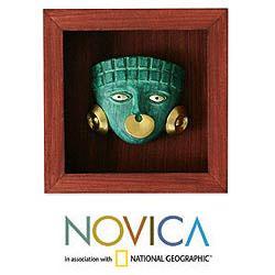 Papier Mache 'Emerald Moche Mask' Shadow Box Mask (Peru) - Thumbnail 1