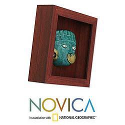 Papier Mache 'Emerald Moche Mask' Shadow Box Mask (Peru) - Thumbnail 2