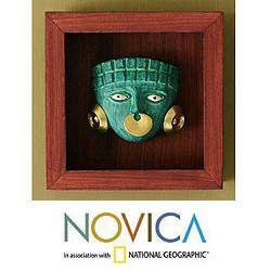 Papier Mache 'Emerald Moche Mask' Shadow Box Mask (Peru)|https://ak1.ostkcdn.com/images/products/5836266/74/534/Papier-Mache-Emerald-Moche-Mask-Shadow-Box-Mask-Peru-P74534063.jpg?impolicy=medium