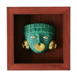 "Papier Mache 'Emerald Moche Mask' Shadow Box Mask (Peru) - 5"" x 5"""