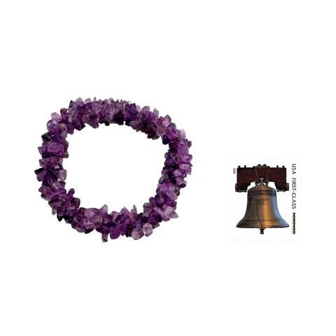 NOVICA Handmade Purple Amethyst Lilac Muse Stretch Bracelet (India)