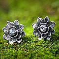 Sterling Silver 'Blue-eyed Lotus' Blue Topaz Earrings (Indonesia)